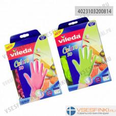 Перчатки Vileda Colours M/L одноразовые 50шт
