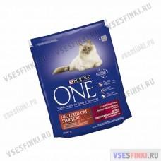 PURINA ONE корм для стерилизованных кошек (много говядины) 800 гр.