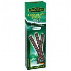 Шоколад Maitre Truffout темный с начинкой с мятным вкусом в палочках, 75г