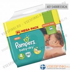 Подгузники Pampers BabyDry №4 (9-14 кг) 86шт