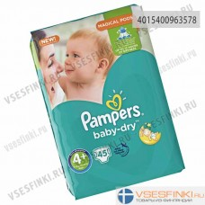 Подгузники Pampers BabyDry №4+ (10-15кг) 45шт